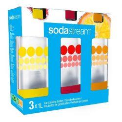 SODASTREAM Pack de 3 bouteilles PET 1L - Bulles de couleur