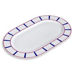 EVRARD Plat ovale 36 cm  Bleu et Rouge - Porcelaine Basque