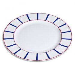 EVRARD Plat rond 32 cm  Bleu et Rouge - Porcelaine Basque