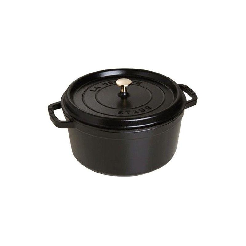 cocottes fonte cocotte en fonte staub ronde 24 cm noir 1102425 ovale ronde ceramique pas cher. Black Bedroom Furniture Sets. Home Design Ideas