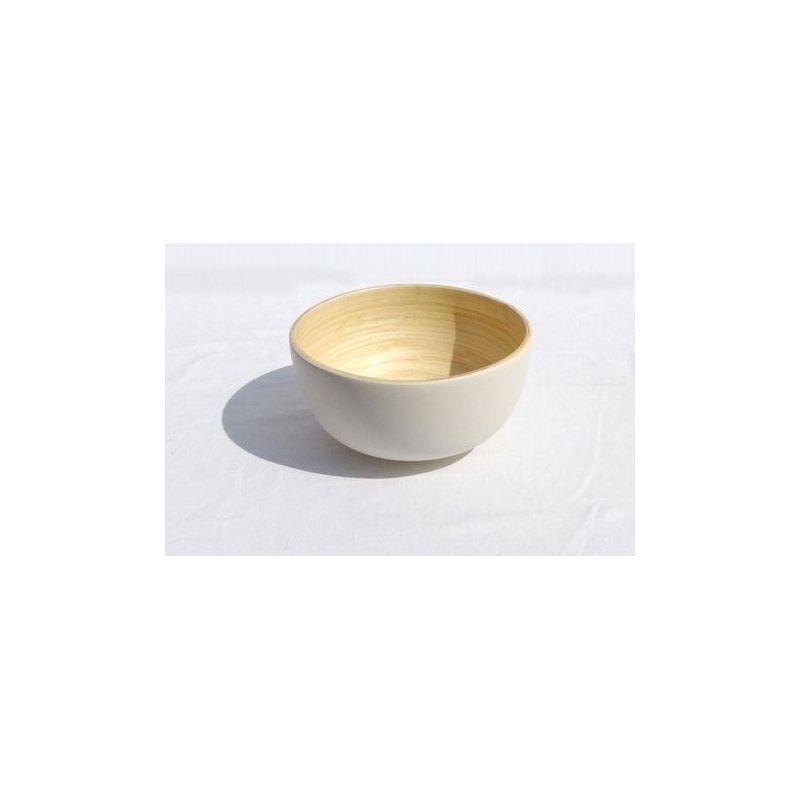 saladier en bambou bibol blanc mat 24 cm. Black Bedroom Furniture Sets. Home Design Ideas