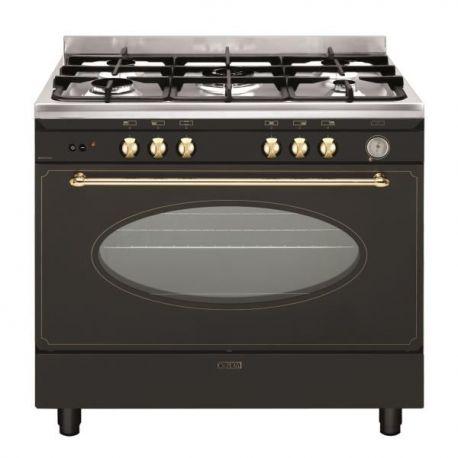 Piano de cuisson rustique 90 cm glem gu960 cmr - Piano de cuisson noir ...