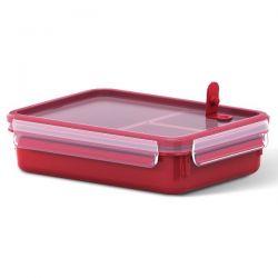 EMSA Boîte rectangulaire 1.2 L avec 3 compartiments - Clip & Close Micro