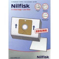 NILFISK Lot de 5 sacs + 2 préfiltres GO et COUPE PARQUET