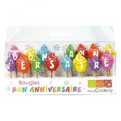 SCRAPCOOKING Lot de 15 bougies - Bon anniversaire