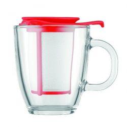 BODUM Set mug verre 0.35L + filtre Rouge - Yo Yo Set