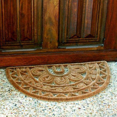 Id mat tapis en coco naturel et m tal forme demi lune 45 x for Tapis de cuisine demi lune