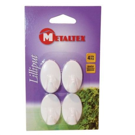 METALTEX Lot de 4 crochets LILLIPUT Adhésifs blancs