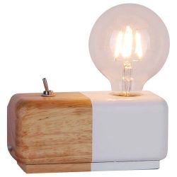 SAMPA-HELIOS Lampe jane bois finition naturelle et blanc