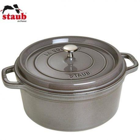 Cocotte en fonte STAUB ronde 24 cm gris graphite - 1102418