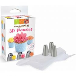 SCRAPCOOKING Kit Douilles 3D Flowers