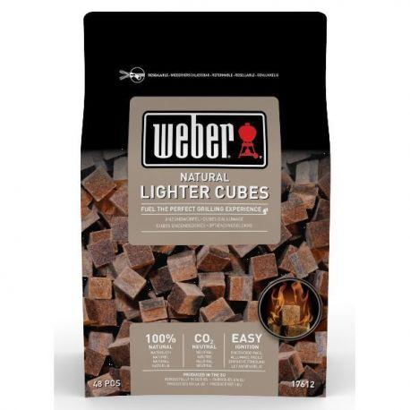 WEBER Boîte de 48 cubes allume-feux bruns