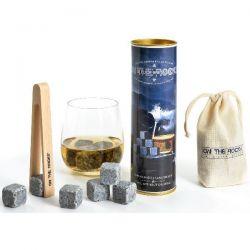 ON THE ROCKS Lot de 6 glaçons Granit + pince à glaçons en hêtre - Bleus de Bretagne
