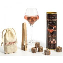 ON THE ROCKS Lot de 6 glaçons Granit + pince à glaçons en hêtre - Pierres à vin