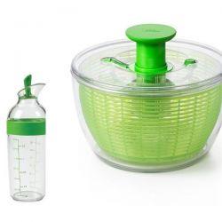 OXO Set Essoreuse à salade 27 cm Verte + shaker à vinaigrette - Good Grips