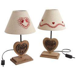Aucune marque Lampe pied coeur bois assortie h37