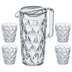 KOZIOL Set Pichet 1.6 L + 4 verres Transparent - Crystal