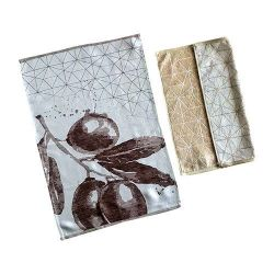 TISSAGES DE BEAULIEU Carre essuie-main geometric beige 100 coton 50x50cm