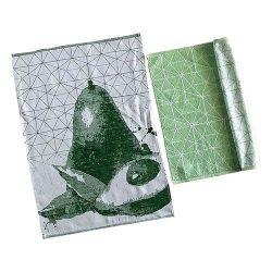 TISSAGES DE BEAULIEU Carre cuisine geometric vert 100% coton 50x50cm