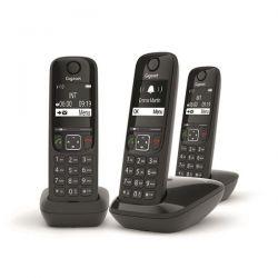 GIGASET Téléphone sans fil DECT + 2 combiné AS690TRIONOIR