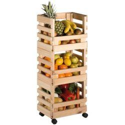 ASTIGARRAGA Resserre a légumes pin 3 étages roulettes 30x38x90cm