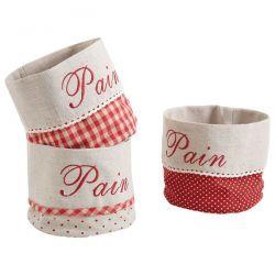 AUBRY GASPARD Corbeille à pain ronde coton 3 motifs assortis Rouge