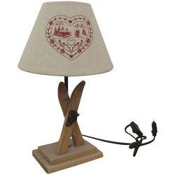 Inconnue Lampe pied bois ski + abat jour coeur