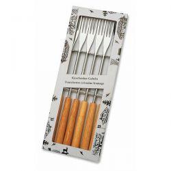 SCHWARZ Coffret de 6 fourchettes 3 dents bois naturel